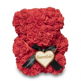 Rózsa maci - piros 25cm