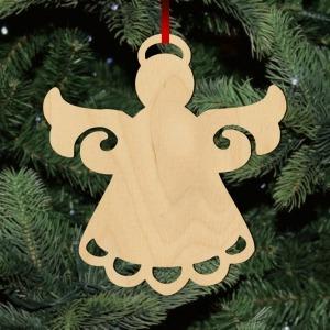 Fa karácsonyfadísz - angyal