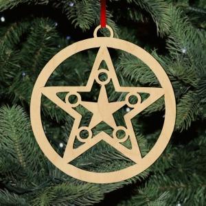 Fa karácsonyfadísz - csillag