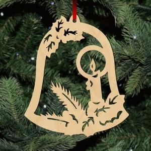 Fa karácsonyfadísz - harang gyertyával