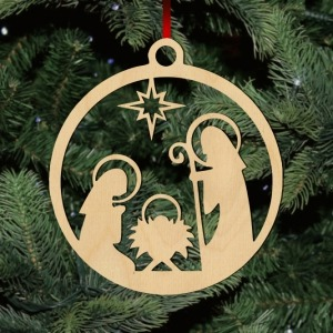 Fa karácsonyfadísz – jászol