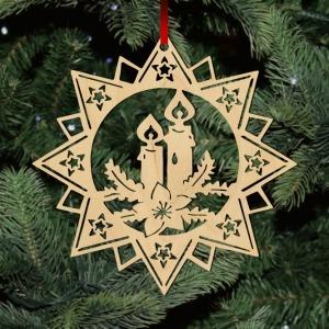 Fa karácsonyfadísz – Csillag gyertyával