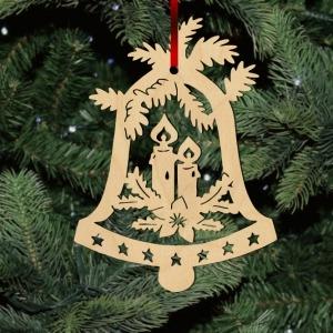 Fa karácsonyfadísz – Harang gyertyákkal
