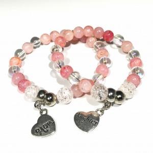 Anya-lánya ásvány karkötők - Hegyikristály és rózsaszín hegyikristály (párban, egyedi méretre készítve)