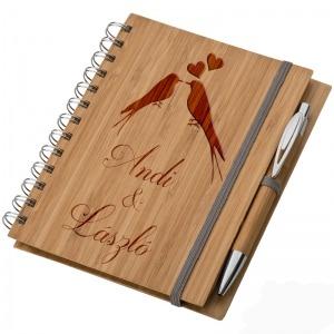 Bambusz füzet A5 + toll + vonalzó - Szerelmeseknek
